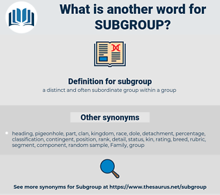 subgroup, synonym subgroup, another word for subgroup, words like subgroup, thesaurus subgroup