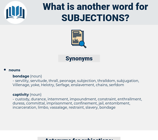 subjections, synonym subjections, another word for subjections, words like subjections, thesaurus subjections