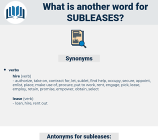 subleases, synonym subleases, another word for subleases, words like subleases, thesaurus subleases