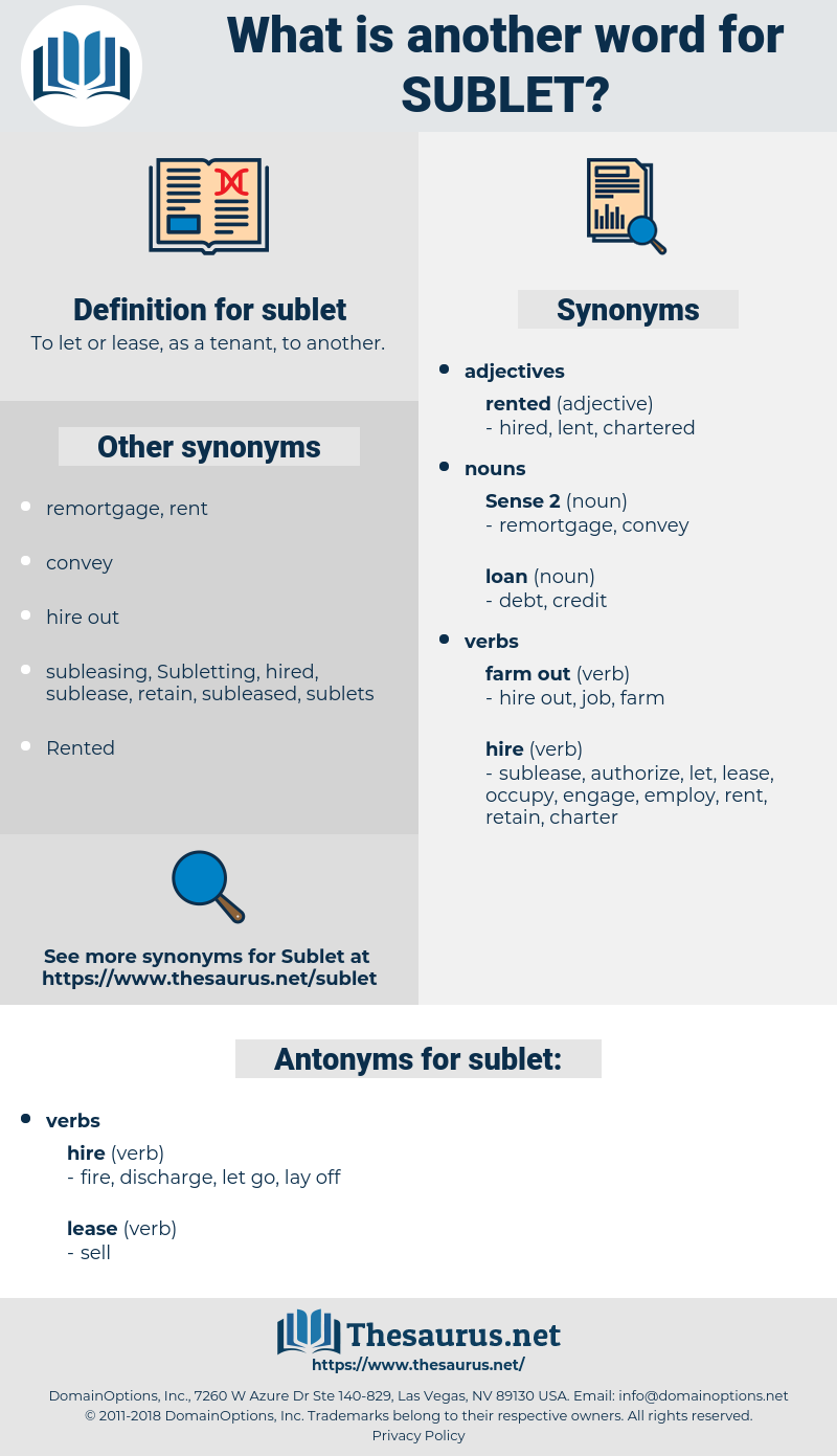 sublet, synonym sublet, another word for sublet, words like sublet, thesaurus sublet