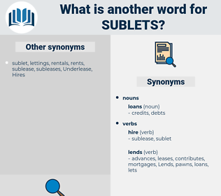 sublets, synonym sublets, another word for sublets, words like sublets, thesaurus sublets