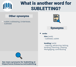 Subletting, synonym Subletting, another word for Subletting, words like Subletting, thesaurus Subletting
