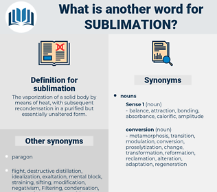 sublimation, synonym sublimation, another word for sublimation, words like sublimation, thesaurus sublimation