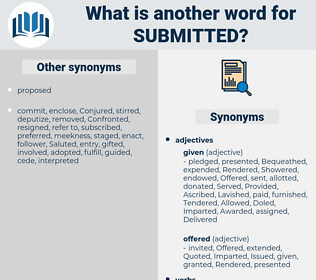 Submitted, synonym Submitted, another word for Submitted, words like Submitted, thesaurus Submitted
