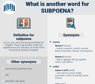 subpoena, synonym subpoena, another word for subpoena, words like subpoena, thesaurus subpoena