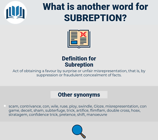 Subreption, synonym Subreption, another word for Subreption, words like Subreption, thesaurus Subreption