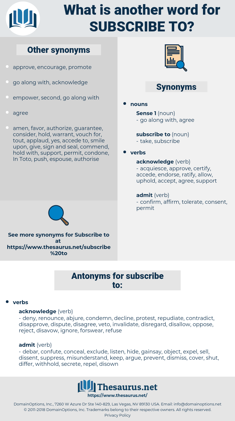 subscribe to, synonym subscribe to, another word for subscribe to, words like subscribe to, thesaurus subscribe to