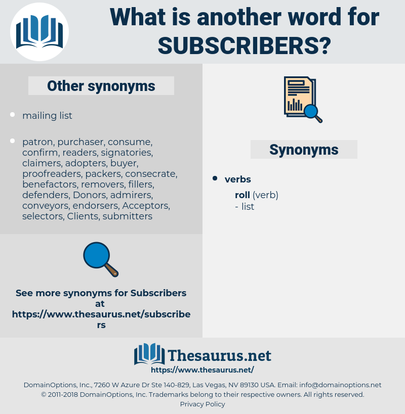 Synonyms for SUBSCRIBERS - Thesaurus net