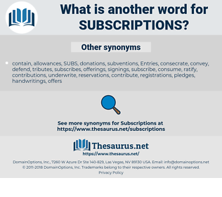 subscriptions, synonym subscriptions, another word for subscriptions, words like subscriptions, thesaurus subscriptions