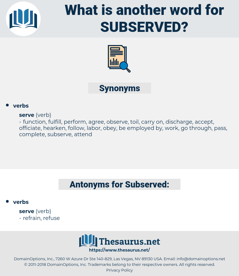 Subserved, synonym Subserved, another word for Subserved, words like Subserved, thesaurus Subserved