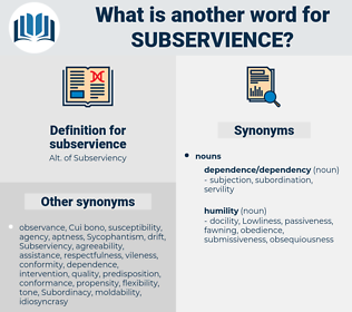 subservience, synonym subservience, another word for subservience, words like subservience, thesaurus subservience