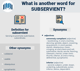 subservient, synonym subservient, another word for subservient, words like subservient, thesaurus subservient