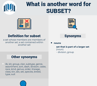 subset, synonym subset, another word for subset, words like subset, thesaurus subset