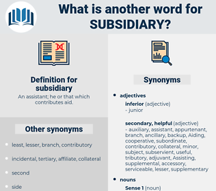 subsidiary, synonym subsidiary, another word for subsidiary, words like subsidiary, thesaurus subsidiary