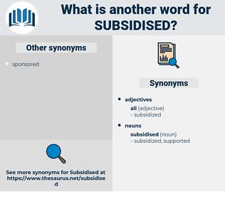 subsidised, synonym subsidised, another word for subsidised, words like subsidised, thesaurus subsidised