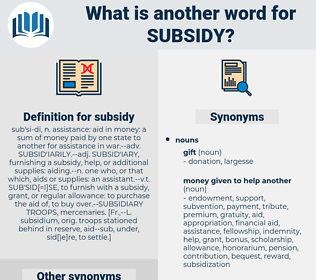 subsidy, synonym subsidy, another word for subsidy, words like subsidy, thesaurus subsidy