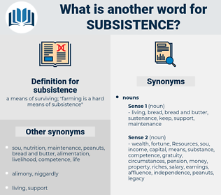 subsistence, synonym subsistence, another word for subsistence, words like subsistence, thesaurus subsistence