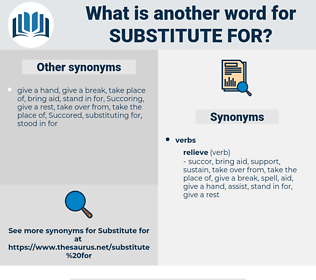 substitute for, synonym substitute for, another word for substitute for, words like substitute for, thesaurus substitute for