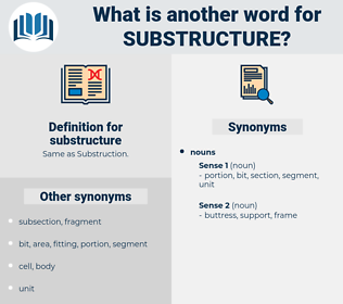 substructure, synonym substructure, another word for substructure, words like substructure, thesaurus substructure