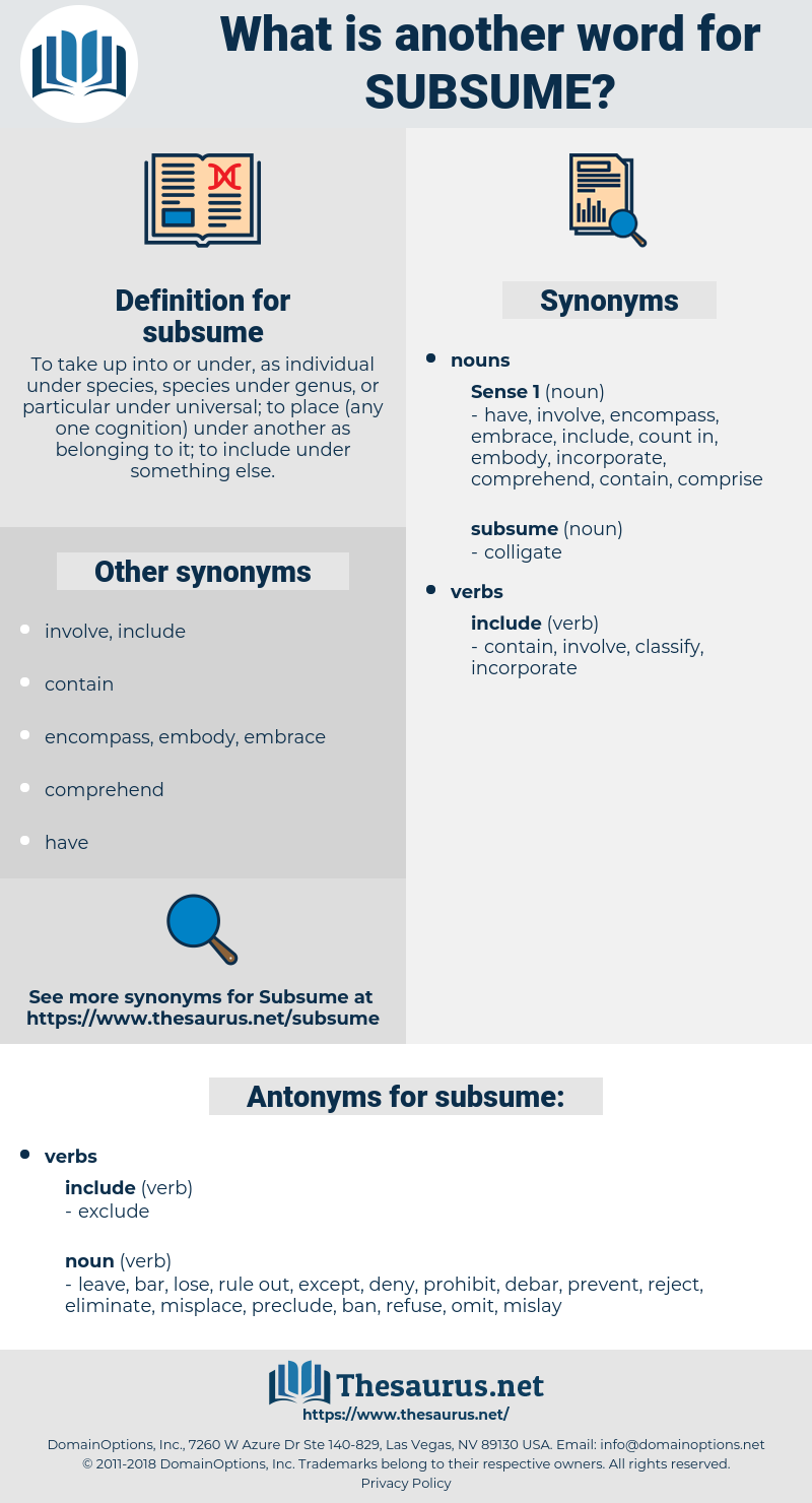 subsume, synonym subsume, another word for subsume, words like subsume, thesaurus subsume