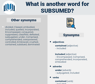 subsumed, synonym subsumed, another word for subsumed, words like subsumed, thesaurus subsumed