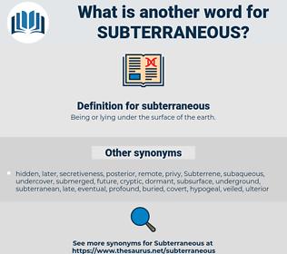 subterraneous, synonym subterraneous, another word for subterraneous, words like subterraneous, thesaurus subterraneous