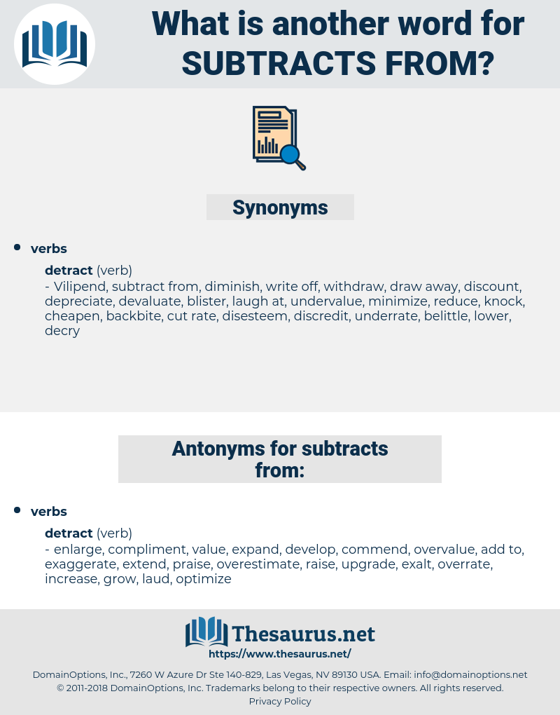 subtracts from, synonym subtracts from, another word for subtracts from, words like subtracts from, thesaurus subtracts from