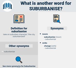 suburbanise, synonym suburbanise, another word for suburbanise, words like suburbanise, thesaurus suburbanise