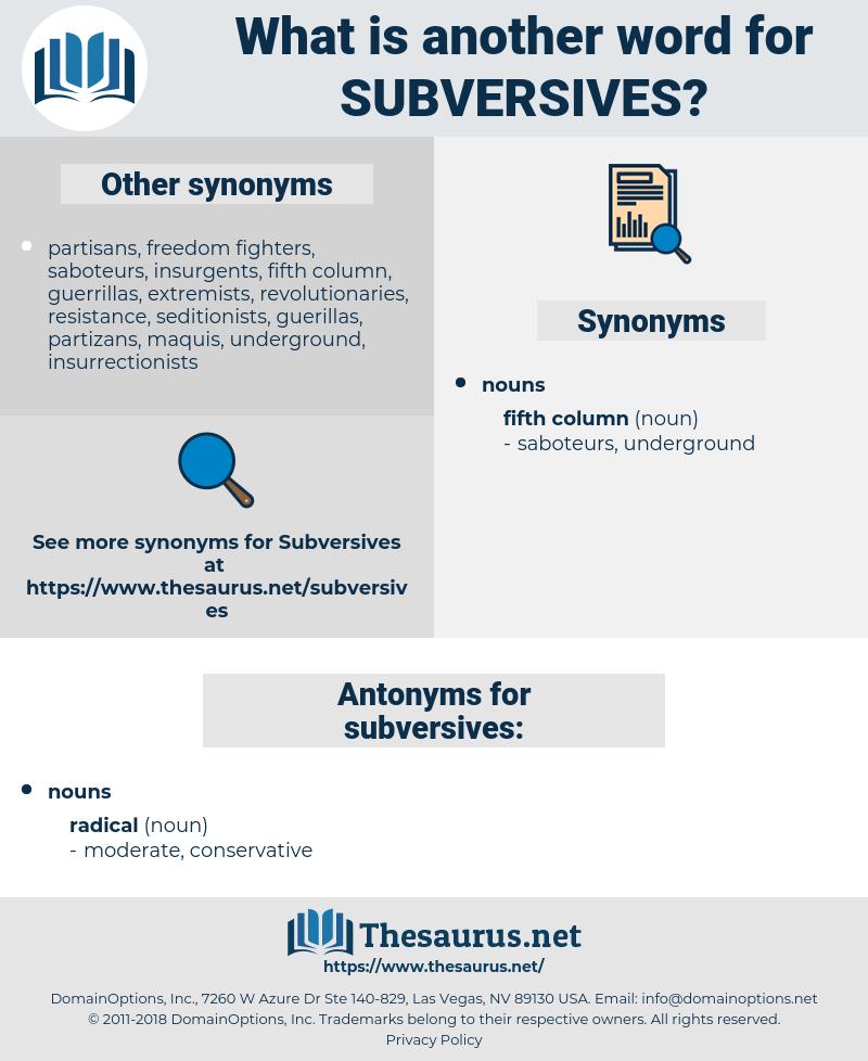 subversives, synonym subversives, another word for subversives, words like subversives, thesaurus subversives