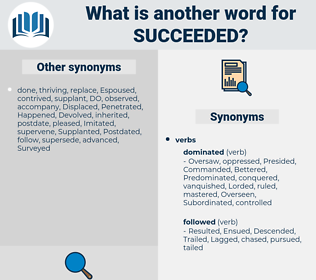 Succeeded, synonym Succeeded, another word for Succeeded, words like Succeeded, thesaurus Succeeded