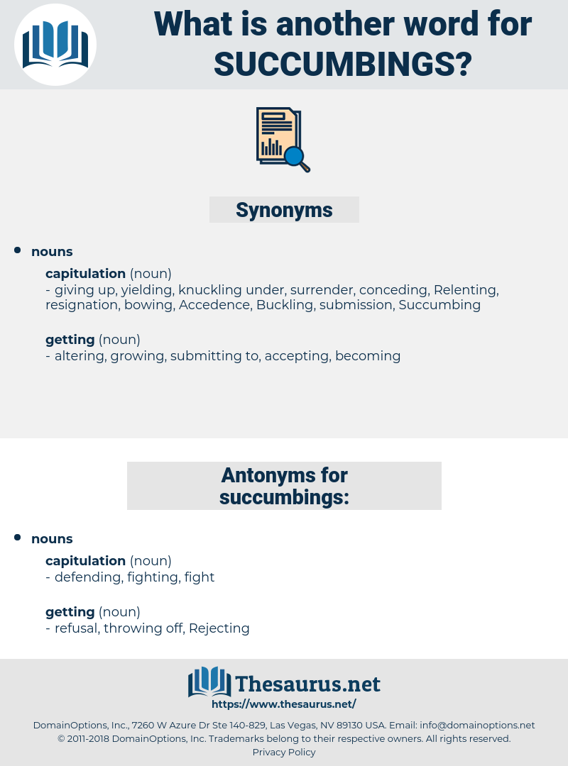succumbings, synonym succumbings, another word for succumbings, words like succumbings, thesaurus succumbings