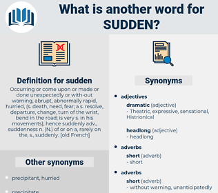 sudden, synonym sudden, another word for sudden, words like sudden, thesaurus sudden