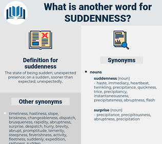 suddenness, synonym suddenness, another word for suddenness, words like suddenness, thesaurus suddenness