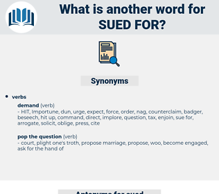 sued for, synonym sued for, another word for sued for, words like sued for, thesaurus sued for