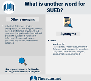Sued, synonym Sued, another word for Sued, words like Sued, thesaurus Sued