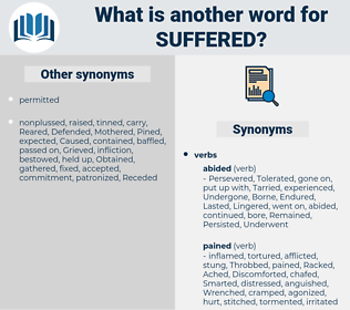 Suffered, synonym Suffered, another word for Suffered, words like Suffered, thesaurus Suffered