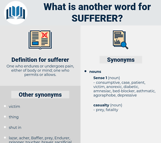 sufferer, synonym sufferer, another word for sufferer, words like sufferer, thesaurus sufferer
