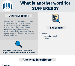 sufferers, synonym sufferers, another word for sufferers, words like sufferers, thesaurus sufferers
