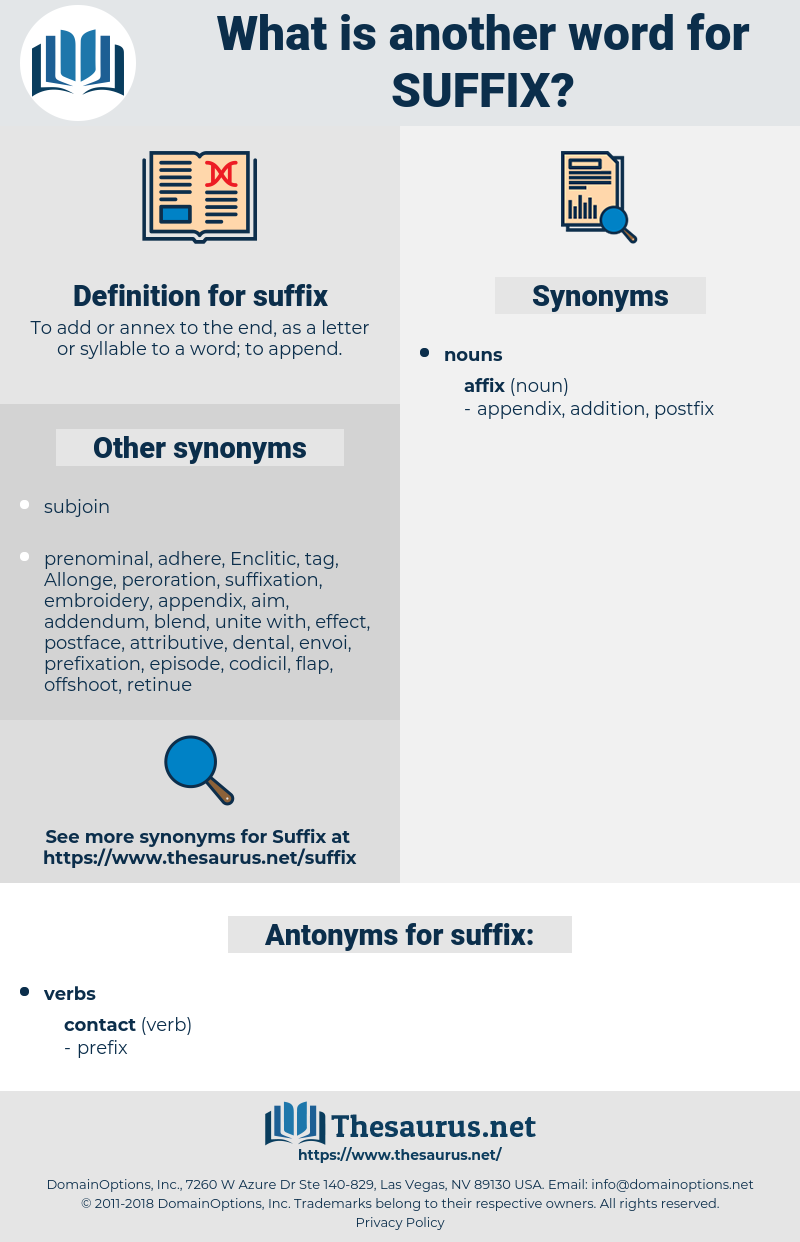 suffix, synonym suffix, another word for suffix, words like suffix, thesaurus suffix