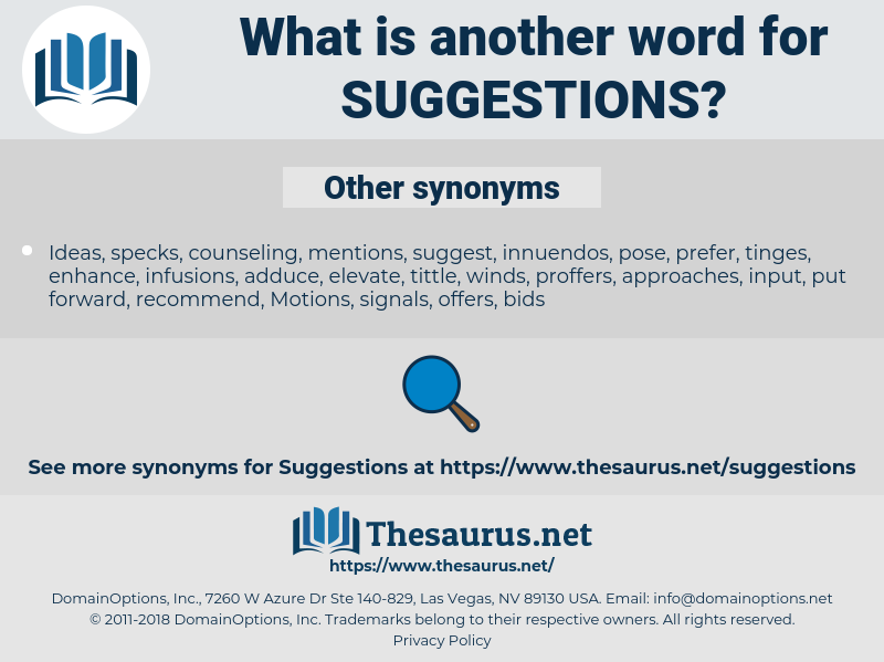 Suggestions, synonym Suggestions, another word for Suggestions, words like Suggestions, thesaurus Suggestions