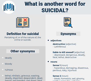 suicidal, synonym suicidal, another word for suicidal, words like suicidal, thesaurus suicidal