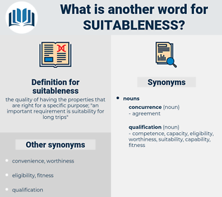 suitableness, synonym suitableness, another word for suitableness, words like suitableness, thesaurus suitableness