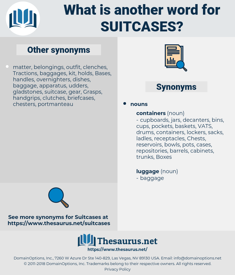suitcases, synonym suitcases, another word for suitcases, words like suitcases, thesaurus suitcases