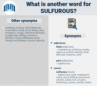 sulfurous, synonym sulfurous, another word for sulfurous, words like sulfurous, thesaurus sulfurous