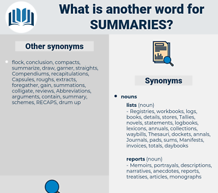Summaries, synonym Summaries, another word for Summaries, words like Summaries, thesaurus Summaries