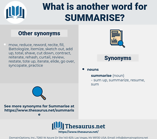 summarise, synonym summarise, another word for summarise, words like summarise, thesaurus summarise