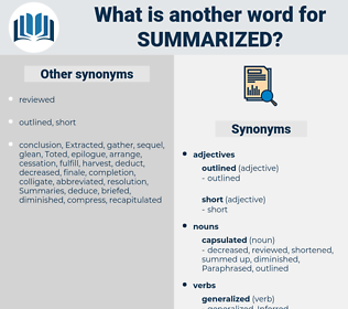 summarized, synonym summarized, another word for summarized, words like summarized, thesaurus summarized