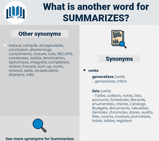 summarizes, synonym summarizes, another word for summarizes, words like summarizes, thesaurus summarizes