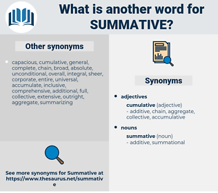 summative, synonym summative, another word for summative, words like summative, thesaurus summative
