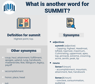 summit, synonym summit, another word for summit, words like summit, thesaurus summit